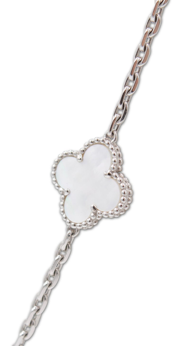 Women's Van Cleef & Arpels 'Alhambra' White Gold and Mother of Pearl 20 Motif Necklace