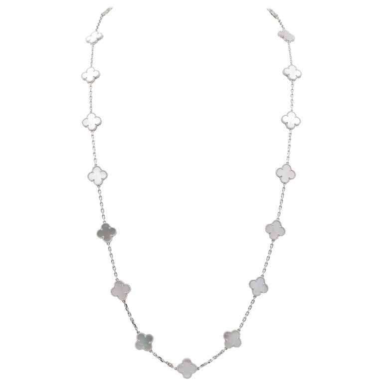 Van Cleef & Arpels 'Alhambra' White Gold and Mother of Pearl 20 Motif Necklace