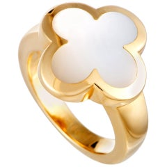 Van Cleef & Arpels Alhambra Yellow Gold Mother of Pearl Ring