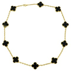 Van Cleef & Arpels Alhambra Yellow Gold Onyx Necklace