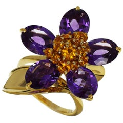Van Cleef & Arpels Amethyst Citrine 18 Karat Yellow Gold Hawaii Small Ring