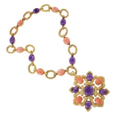 Van Cleef & Arpels Amethyst, Coral and Gold Necklace