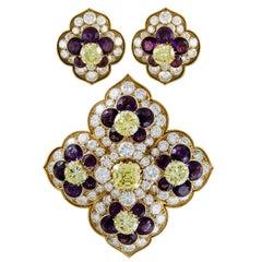 Van Cleef & Arpels Amethyst Diamond Gold Brooch and Earrings