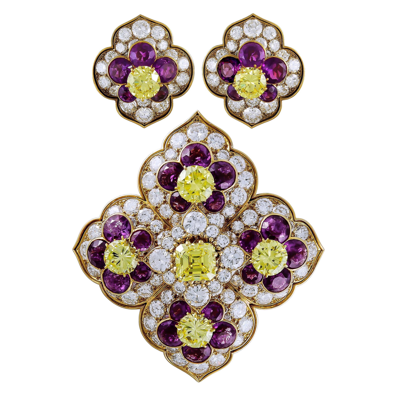 Van Cleef & Arpels Amethyst, Yellow Diamond Brooch, Earrings
