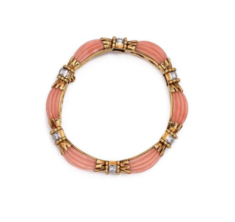 Artist Van Cleef & Arpels Angel Coral and Diamond Bracelet For Sale