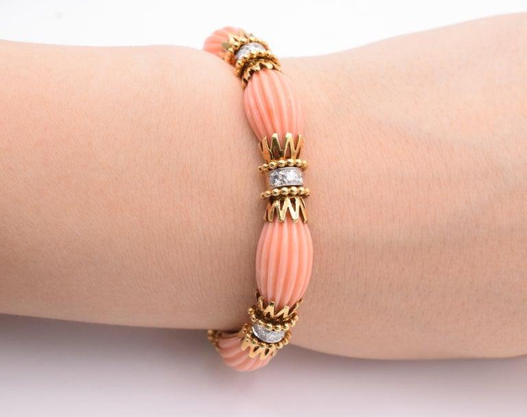 Women's or Men's Van Cleef & Arpels Angel Coral and Diamond Bracelet For Sale