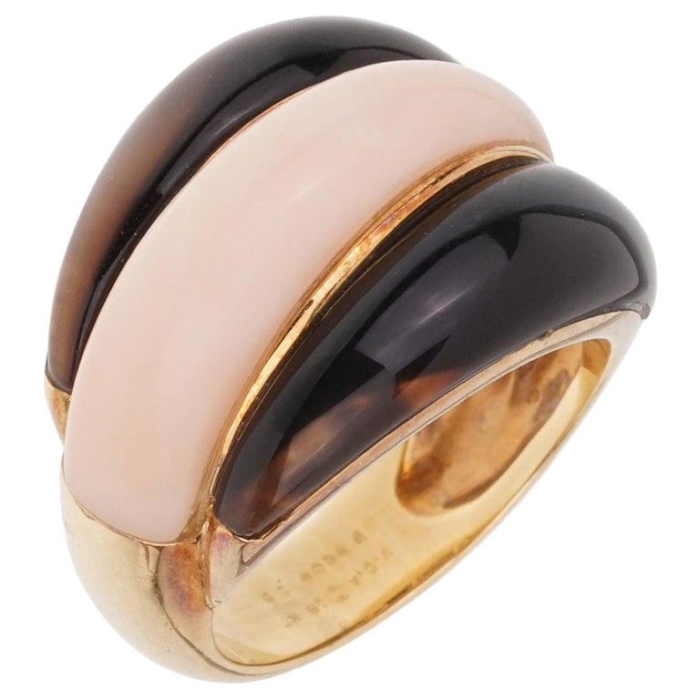 Van Cleef & Arpels Angel Skin Coral Bombe Yellow Gold Ring For Sale