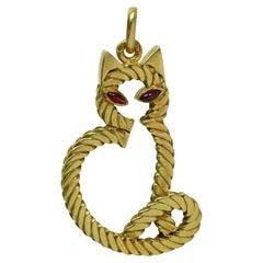 Van Cleef & Arpels Antique Georges L'Enfant Ruby Yellow Gold Cat Pendant
