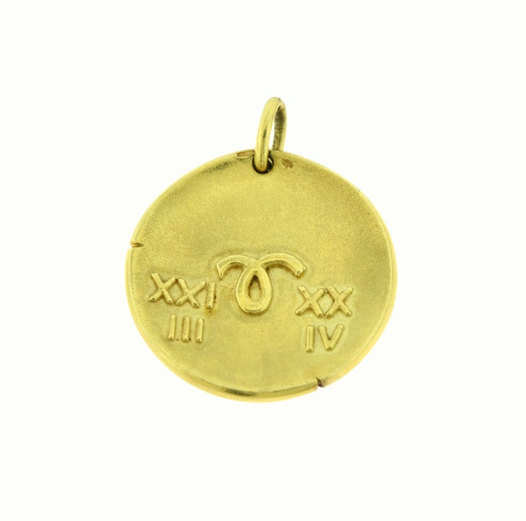 Designer: Van Cleef & Arpels   Style: Pendant/Charm/ Aries Coin  Metal: Yellow Gold     Metal Purity: 18k      Pendant Thickness: 3.83mm  Pendant Dimension: 1.75 inches from top to bottom, 1.60 inches from left to right   Total Item Weight (grams):