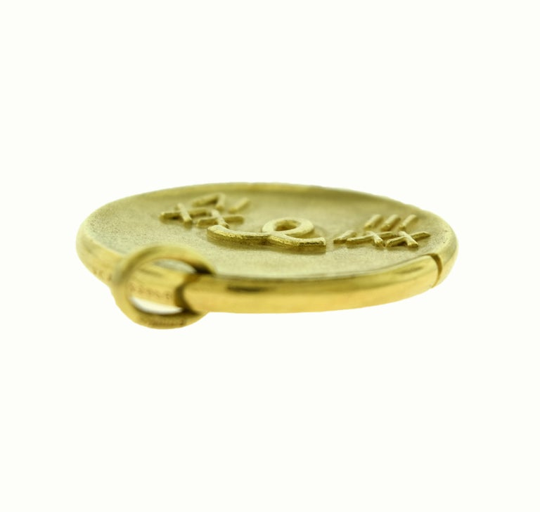 Women's or Men's Van Cleef & Arpels Aries Zodiac Yellow Gold Large Pendant Coin Charm For Sale