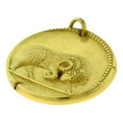 Van Cleef & Arpels Aries Zodiac Yellow Gold Large Pendant Coin Charm