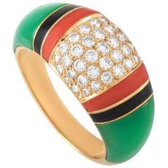 Van Cleef & Arpels Art Deco 18 Karat Gold 0.65 Carat Diamond Multi-Gem Ring