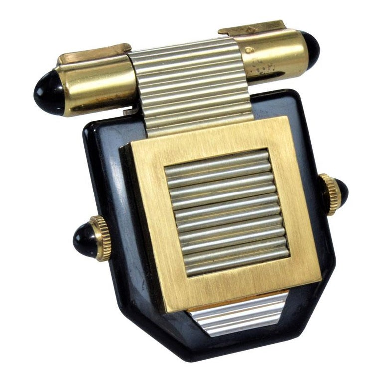 Van Cleef & Arpels Art Deco Clip on Watch circa 1930s by Verger For Sale 3
