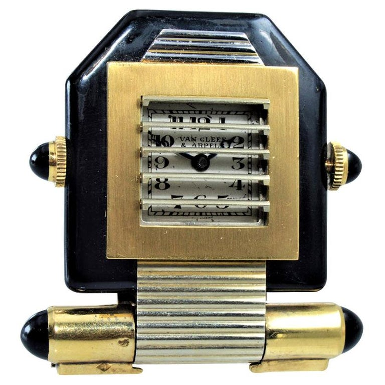 Van Cleef & Arpels Art Deco Clip on Watch circa 1930s by Verger For Sale