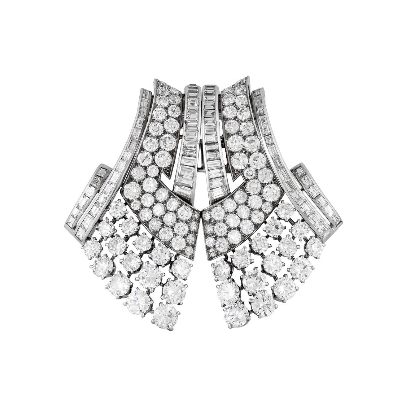 Van Cleef & Arpels Art Deco Diamond Double Clip Brooch