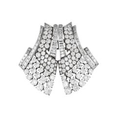 Van Cleef & Arpels Art Deco Diamond Double Clip Brooch
