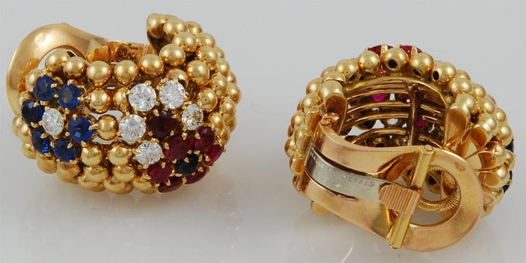 Van Cleef & Arpels Bagatelle Bombe Ring Earring Suite In Good Condition For Sale In New York, NY