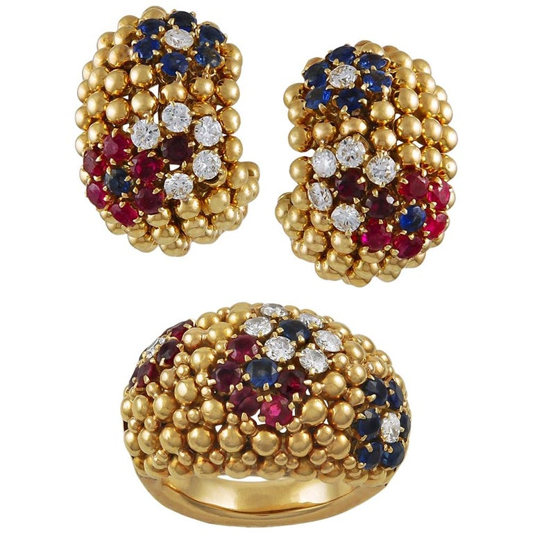 Van Cleef & Arpels Bagatelle Bombe Ring Earring Suite For Sale