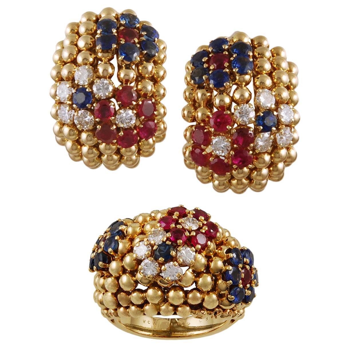 Van Cleef & Arpels Bagatelle Bombe Ring Earrings Suite