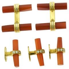 Van Cleef & Arpels Batonnet Carnelian & Diamond 18 Karat Gold Cufflink Stud Set