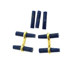 Van Cleef & Arpels Batonnet Lapis Lazuli and 18k Yellow Gold Cufflink Stud Set