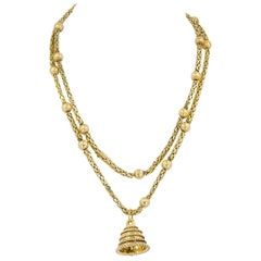 Van Cleef & Arpels Bell Charm Byzantine Chain Necklace
