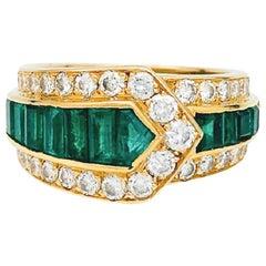 """Van Cleef & Arpels """"Belt"""" Ring, Diamonds and Emeralds"""