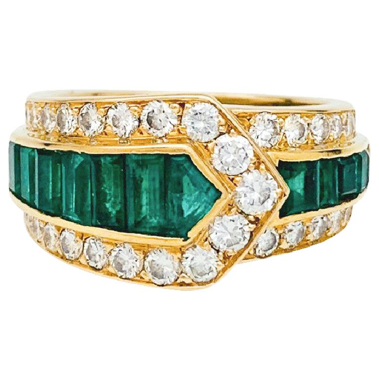 "Van Cleef & Arpels ""Belt"" Ring, Diamonds and Emeralds For Sale"