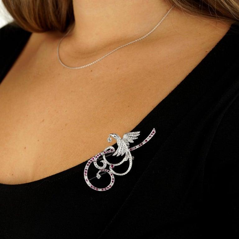 Modern Van Cleef & Arpels Birds of Paradise Pink Sapphire Diamond Brooch Pendant For Sale
