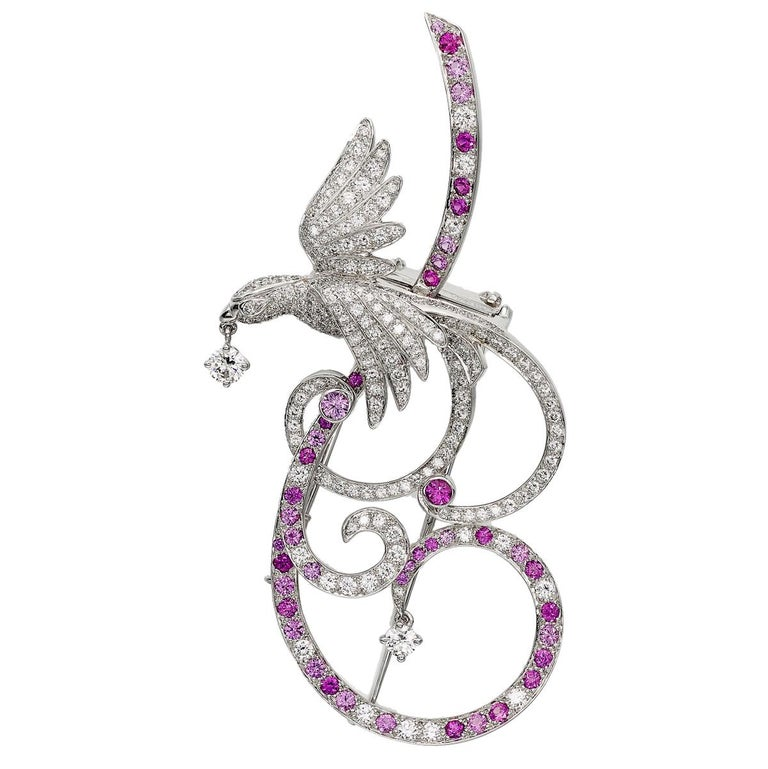 Round Cut Van Cleef & Arpels Birds of Paradise Pink Sapphire Diamond Brooch Pendant For Sale
