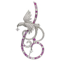 Van Cleef & Arpels Birds of Paradise Pink Sapphire Diamond Brooch Pendant