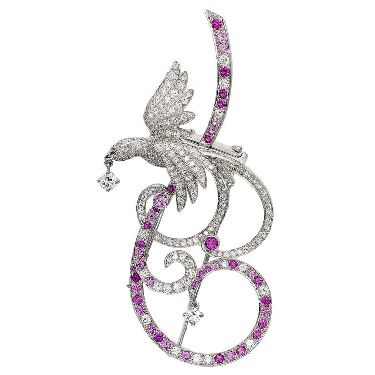 Van Cleef & Arpels Birds of Paradise Pink Sapphire Diamond Brooch Pendant For Sale
