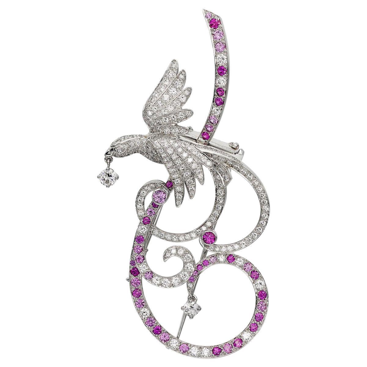 Van Cleef & Arpels Birds of Paradise Pink Sapphire Diamond Brooch Pendant