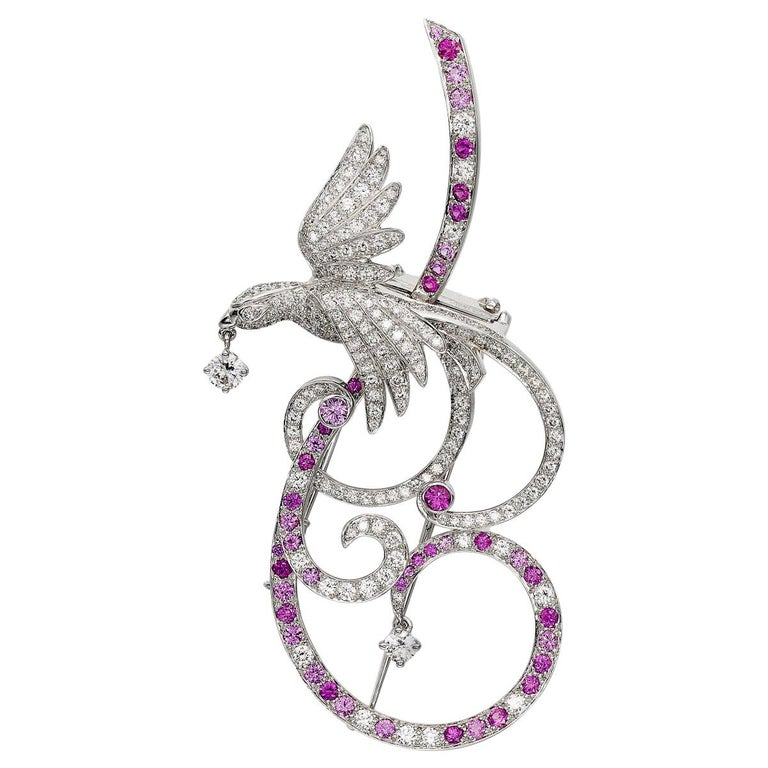 Van Cleef & Arpels Birds of Paradise pink-sapphire and diamond brooch, 2010s