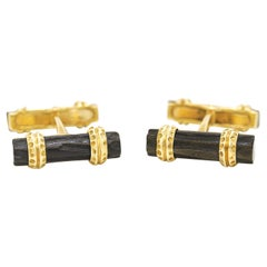 Van Cleef & Arpels Black Coral and Gold Cufflinks