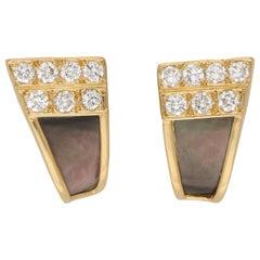 Van Cleef & Arpels Black Mother of Pearl and Diamond Studs Earrings in 18 Karat