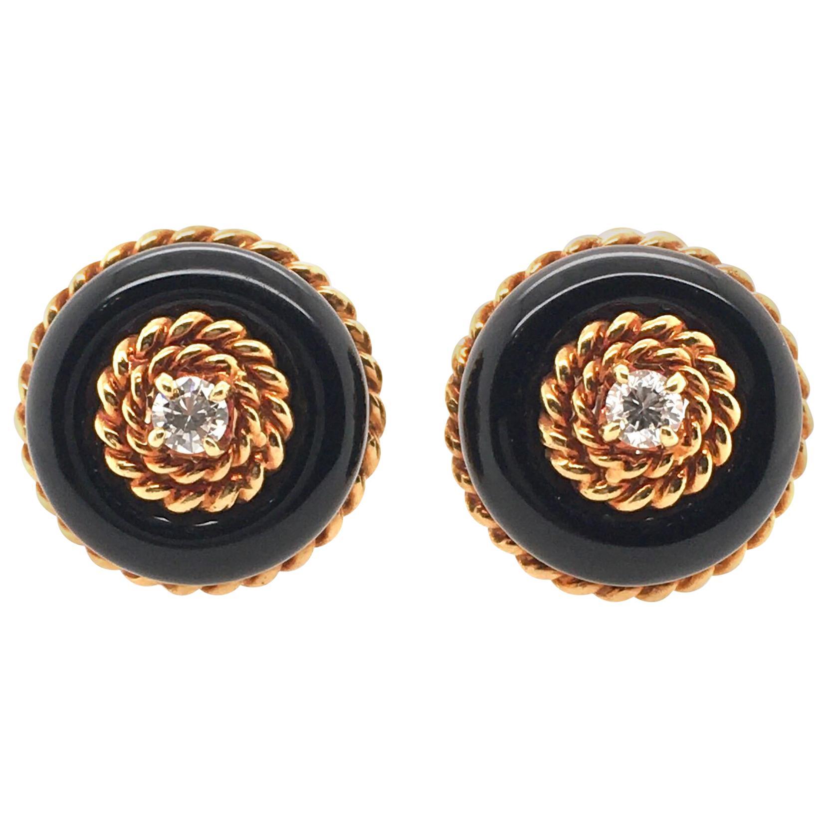 Van Cleef & Arpels Black Onyx, Diamond and Gold Earrings