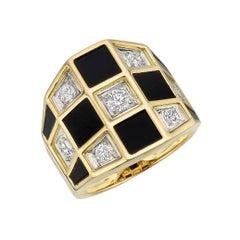 """Van Cleef & Arpels Black Onyx Diamond """"Checkerboard"""" Ring"""