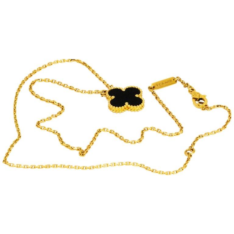 Van Cleef & Arpels Black Onyx Pendant Necklace For Sale
