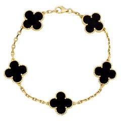 Van Cleef Arpels Black Onyx Vintage Alhambra 18k Gold Bracelet