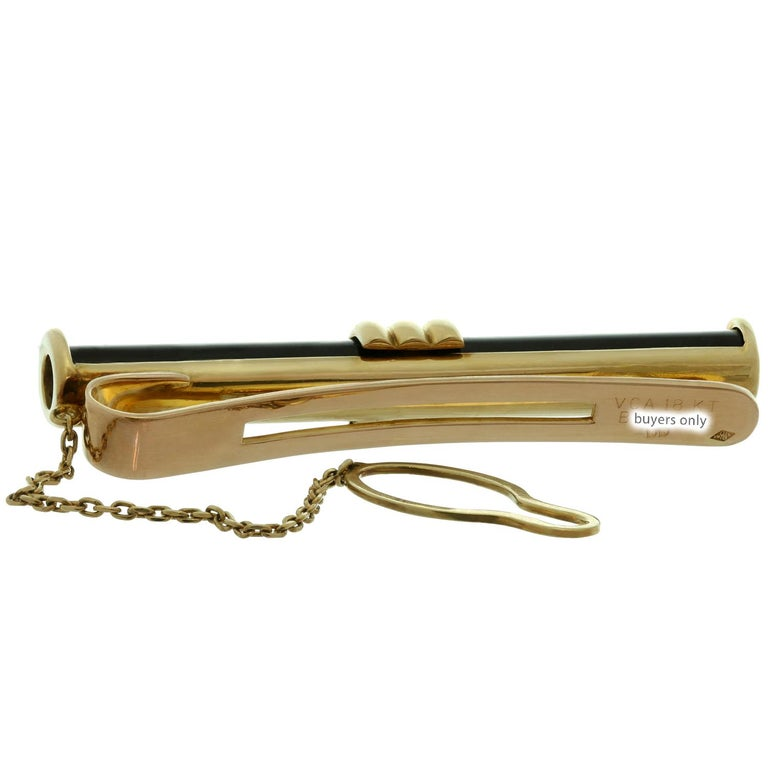 Men's Van Cleef & Arpels Black Onyx Yellow Rose Gold Tie Bar Pin For Sale