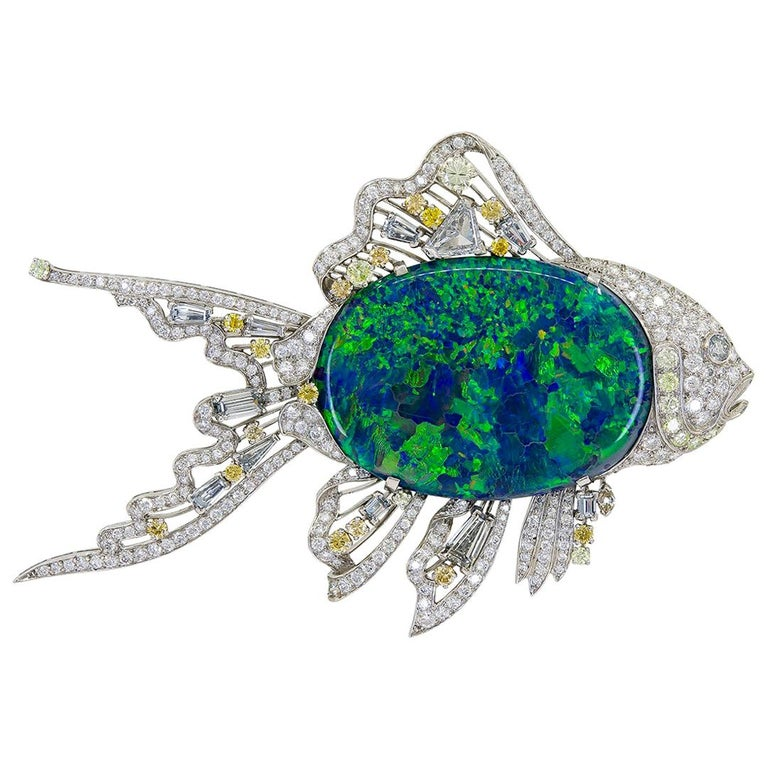 Van Cleef & Arpels Black Opal Fish Brooch For Sale