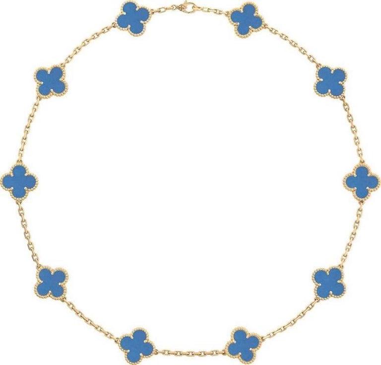 Modern Van Cleef & Arpels Blue Agate 10 Motifs Vintage Alhambra Necklace For Sale