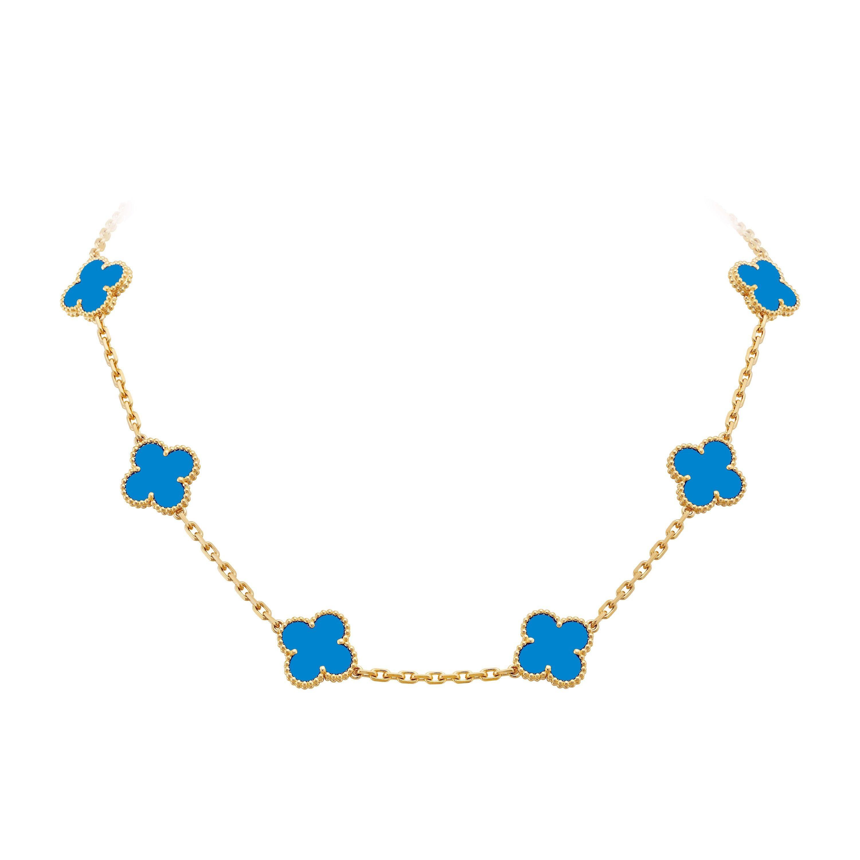 Van Cleef & Arpels Blue Agate 10 Motifs Vintage Alhambra Necklace