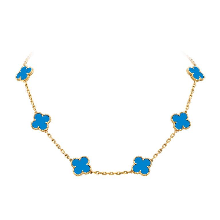 Van Cleef & Arpels Blue Agate 10 Motifs Vintage Alhambra Necklace For Sale