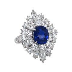 Van Cleef & Arpels Blue Kashmir Sapphire Diamond Cluster Ring