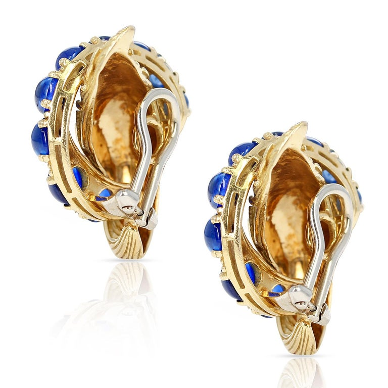 Van Cleef & Arpels Blue Sapphire Cabochon 18k Textured Gold Earrings In Excellent Condition For Sale In New York, NY