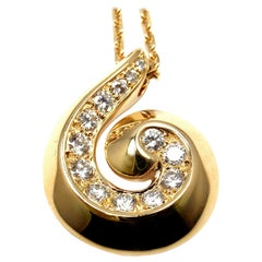 Van Cleef & Arpels Breeze Diamond Swirl Yellow Gold Pendant Necklace