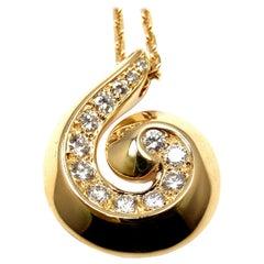 Van Cleef & Arpels Breeze Diamond Swirl Yellow Gold Pendant Necklace