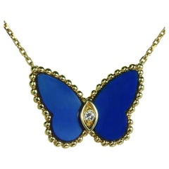 Van Cleef & Arpels Butterfly Diamond Lapis Lazuli Yellow Gold Pendant Necklace